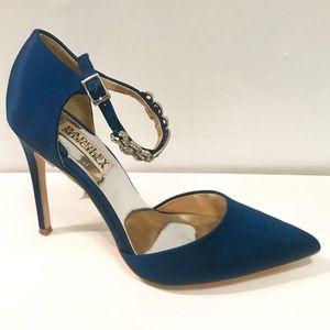 Badgley Mischka satin crystal ankle pump shoes
